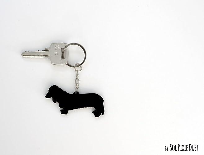amazon com long haired dachshund dog keychain silhouette handmade