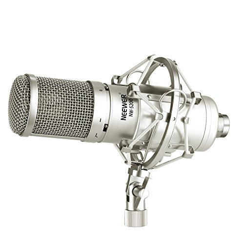 Neewer Large-Diaphragm Condenser Microphone Kit for Broadcasting and Sound Recording, Includes NW-5200 Side-Address cardioid Mic, Shock Mount, Ball-type Anti-wind Foam Cap and Carrying Case (Silver)