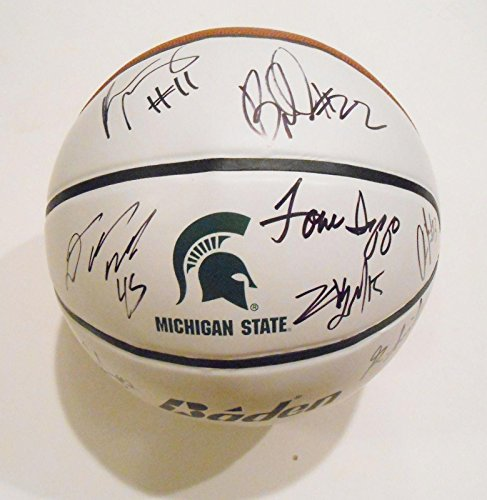 2013-14-Michigan-State-Spartans-Team-Signed-Basketball-wCOA-Appling-Izzo-1-Autographed-College-Basketballs