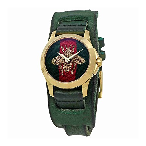 Gucci G-Timeless Red and Green Nylon Dial Ladies Leather Watch (Gucci Ladies Wrist Watch)
