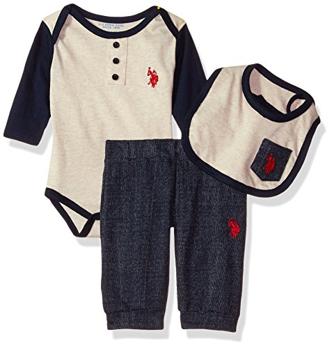U.S. Polo Assn. Baby Boys' Creeper, Bib or Hat and Pant Set, Oatmeal Heather ()