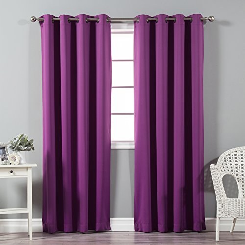 Best Home Fashion Premium Thermal Insulated Blackout Curtains - Antique Bronze Grommet Top - Violet - 52