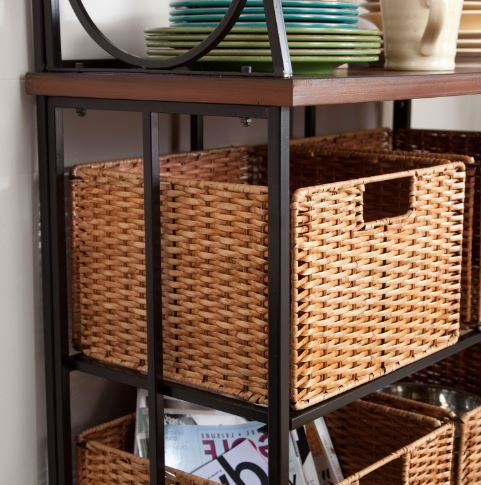 K&A Company Durable Metal And Wood Bakers Rack Space Shelves with Classic Wicker Basket Storage 31.75W x 15D x 67.5H inches