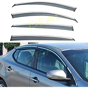 4 Pcs Set Compatible With 2010-2015 Kia Optima Tuningpros LWD2-563 Outside Mount Window Visor Deflector Rain Guard Light Grey