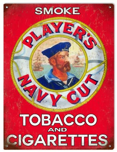 Players Cigarettes Reproduction Navy Cut Tobacco Sign (Cigarettes Players Cut Navy)