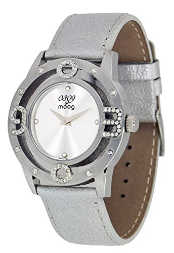 Moog Paris 0309 Women's Watch with Silver Dial, Silver Genuine Leather Strap & Swarovski Elements - M44762-001