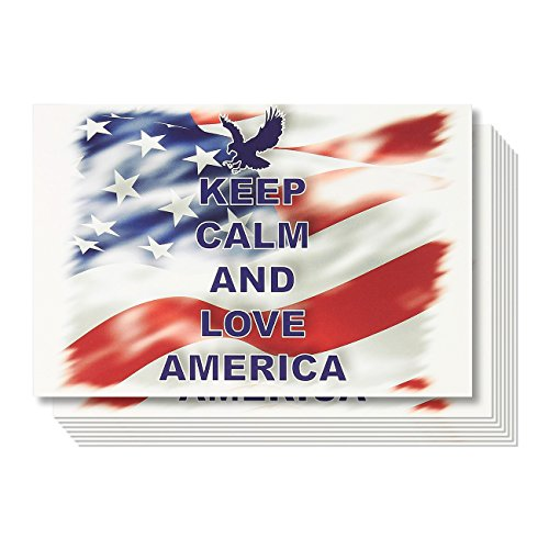 tcards Set - Bulk Keep Calm and Love America Patriotic Postcards, 4 x 6 Inches ()