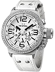 TW Steel Mens TW10 Canteen White Leather Chronograph Dial Watch