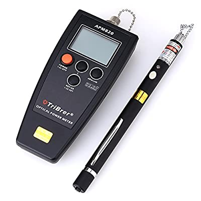 APM820 Handheld Black Portable Optical Power Meter and 30mW 30KM Pen Type Visual Fault Locator Fiber Optic Cable Tester for CATV Telecommunications Engineering Maintenance