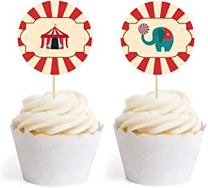 Andaz Press Carnival Circus Birthday Collection, Cupcake Topper DIY Party Favors Kit, 20-Pack