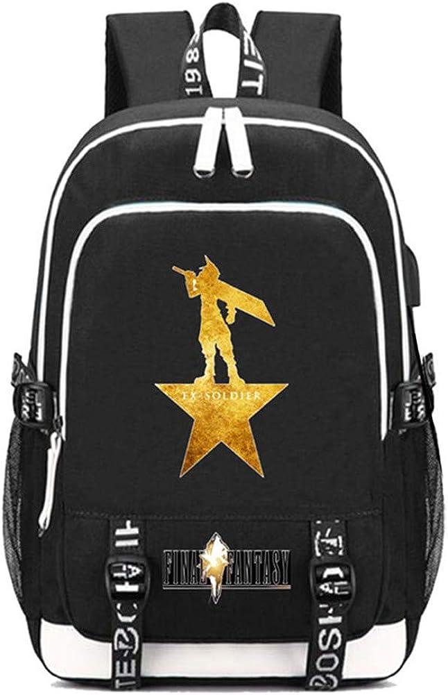 Gumstyle Final Fantasy Game Multifunction Schoolbag Travel Bag Laptop Backpack with USB Charging Port and Headphone Jack