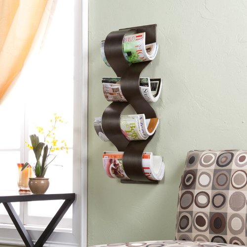 (Southern Enterprises Wave Wall Mount Magazine Rack, Hand Painted Brushed Brown Finish)
