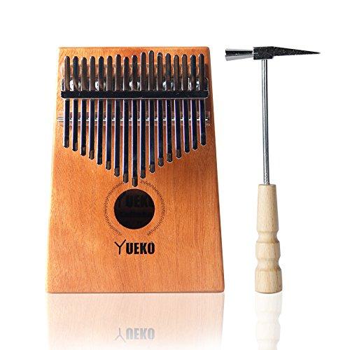 Yueko Professional 17 Keys Kalimba Thumb Piano Mbira with Tune Hammer, Mahogany Finger Piano African Instrument (Deep Blue/Natural) (Deep Blue)