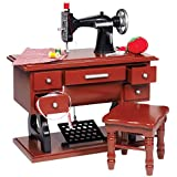 The Queen's Treasures American Style 1930's Antique Sewing Machine Set & Stool Plus 7 Piece Accessory Set. Sized for 18 Inch American Girl Furniture and Accessories