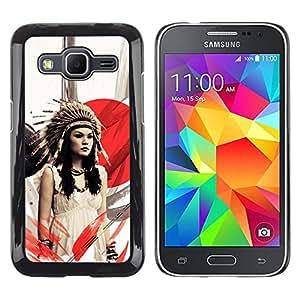 LECELL--Funda protectora / Cubierta / Piel For Samsung Galaxy Core Prime -- Chica nativo americano --