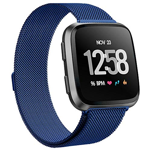 - KIMILAR Metal Bands Compatible with Fitbit Versa/Versa Lite Bands, Women Men Small Large Stainless Steel Replacement Sport Bracelet Strap Wristbands Accessories with Magnet Lock