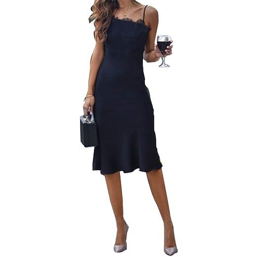 6fc106bd5922 Women Lace Strappy Cocktail Evening Party Ruffle Swing Midi Dress Summer  Beach Boho Long Maxi Dress Sundress at Amazon Women's Clothing store: