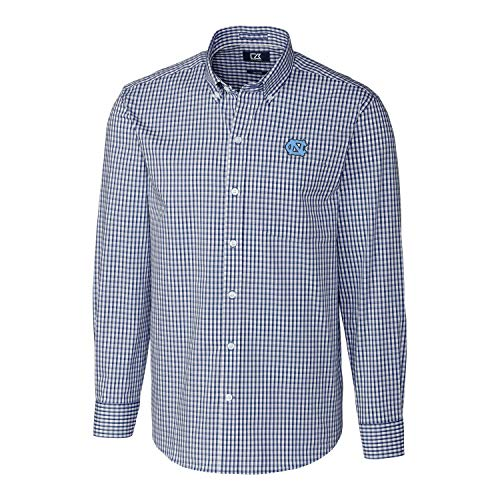 Cutter & Buck NCAA North Carolina Tar Heels Mens Long Sleeve Button Down Stretch Gingham Shirt, Liberty Navy, Large
