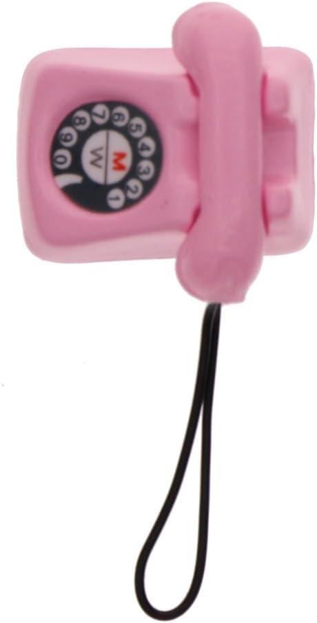 RUNGAO 1/12 casa de muñecas vintage teléfono teléfono miniatura accesorios casa de muñecas juguete