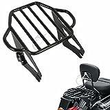 #10: XFMT Gloss Black 2-Up Luggage Rack Mount For Harley Davidson Touring Models 2009-17
