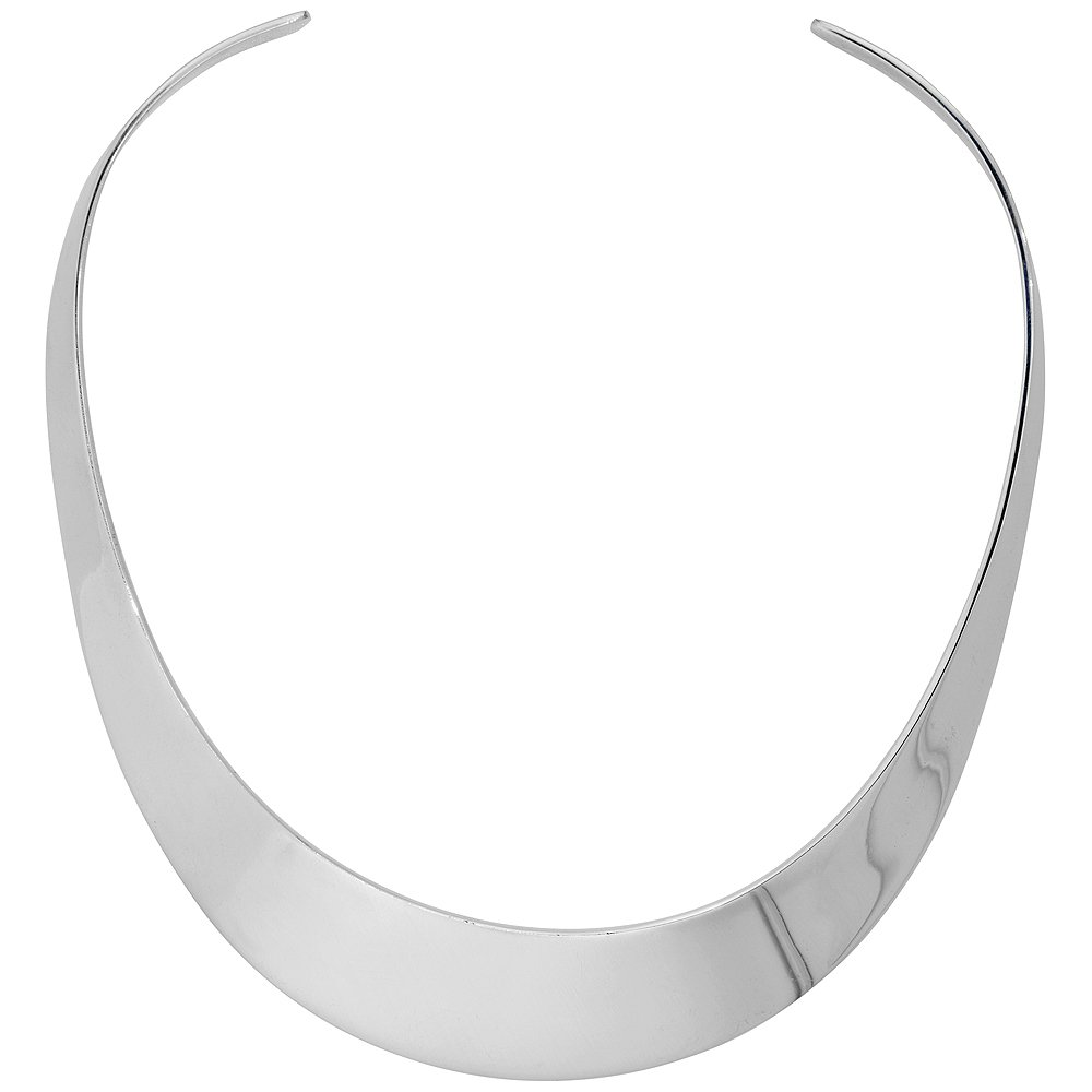 Sterling Silver Large Choker Collar Necklace Handmade 1 1/2 inch wide