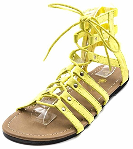Orly Shoes Women's Wide Width Strappy Lace Up Gladiator Sandal in Yellow Size: - Philip London Lim