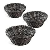 Colorbasket 31117-101 Round Food Basket, Water Resistant, Microwave Safe, BPA Free, Black, Set of 3