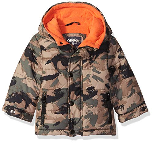 Osh Kosh Baby Boys Little Man Puffer Jacket, camo/Tangy Orange, 12M
