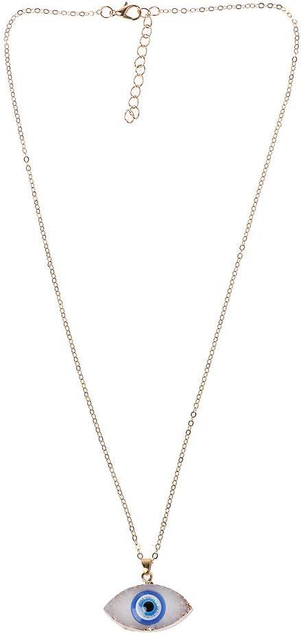 HavanaYZ - Collar con colgante de piedra drusa de ojo azul, regalo para novia, esposa, San Valentín, amante, joyería de regalo blanco