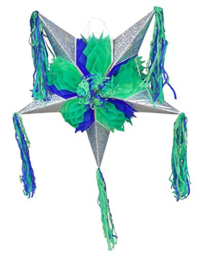 Piata Kids Costumes (Foldable Star Pinata - Green and Blue - Easy to Transport and Great for Mexican Party Decorations and Kid's Parties)