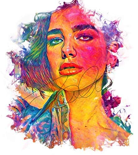 Dua Lipa Colourful Ink Pop art Hand Drawn Painted PRINT Poster #DUALIPA_INKED5