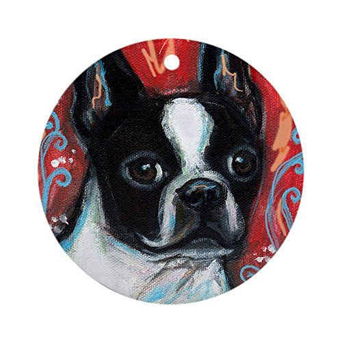 Boston Terrier Portrait (CafePress - Portrait Of Smiling Boston Terrier Ornament (Round - Round Holiday Christmas)