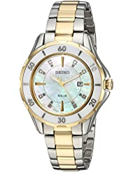 Seiko Womens DIAMOND SOLAR Quartz Stainless Steel Casual Watch, Color:Two Tone (Model: SUT338)