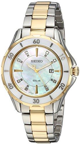 Women's Diamond Solar Japanese-Quartz Watch with Two-Tone-Stainless-Steel Strap, 7 (Model: ) - Seiko SUT338