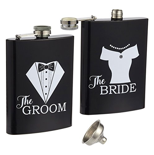 Liquor Flasks - 2-Piece, 8 Oz Bride and Groom Pocket Drinking Flasks, Stainless Steel Flask Set with Funnel, Wedding Gifts for Newlyweds, Black and White