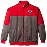MLB Texas Rangers Men's Poly Fleece Yoked Track Jacket with Wordmark Logo, X-Large/Tall, Red/Gray