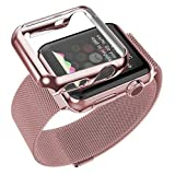 Tomplus Double Electroplating Steel Milanese Loop Replacement Wrist Band with Plated Case and Tempered glass for Apple Watch (Rose Gold 38mm)