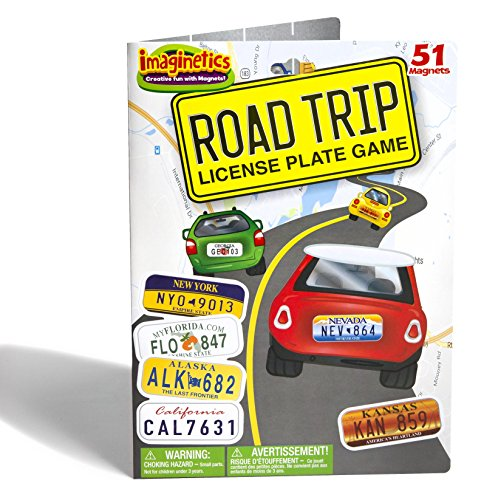 Imaginetics Road Trip License Plate Game – Includes 51 Magnets (Road Plates)