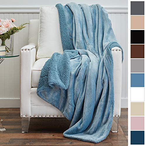 (The Connecticut Home Company Micromink Velvet with Sherpa Throw Blanket, Super Soft, Large Wrinkle Resistant Blankets, Warm Hypoallergenic Machine Washable Couch/Bed Throws, 65x50 (Slate Blue) )
