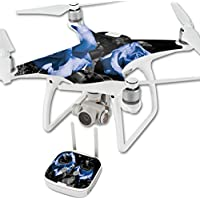 MightySkins Skin For DJI Phantom 4 Quadcopter Drone – Blue Roses Protective, Durable, and Unique Vinyl Decal wrap cover | Easy To Apply, Remove, and Change Styles | Made in the USA