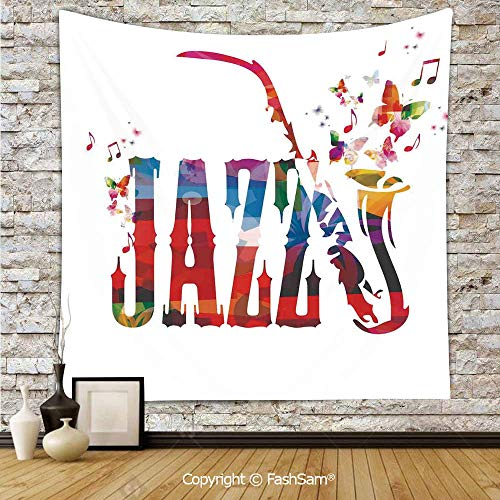 FashSam Polyester Tapestry Wall Colorful Jazz with Saxophone Choir Summer Entertainment Flourish Art Hanging Printed Home Decor(W59xL78)