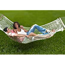 Unvert Extra Heavy Duty Cotton Hammock Double Person Solid Wood Spreader Outdoor W/hook (Cotton- White, HD 2-Person 500L