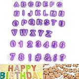 Windspeed 40pcs DIY Letter Number Cake Mould Fondant Sugarcraft Cookie Plunger Cutter Mold Decorating Tools