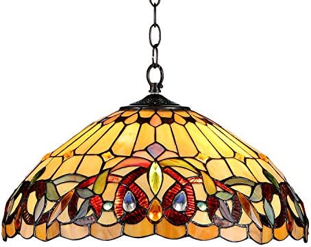 Capulina 120W Vintage Tiffany Style Hanging Light, 18 Inch Wide Stained Glass Pendant Light Fixtures, Tiffany Hanging Lamps, Tiffany Pendant Light Fixture, Tiffany Stained Glass Pendant Lights