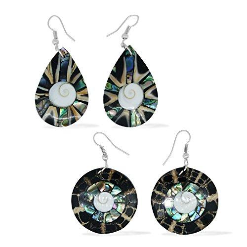 Laba Laba, Abalone Shell, Shiva Eye's Stainless Steel Set of 2 Fashion Drop Earrings For Women -