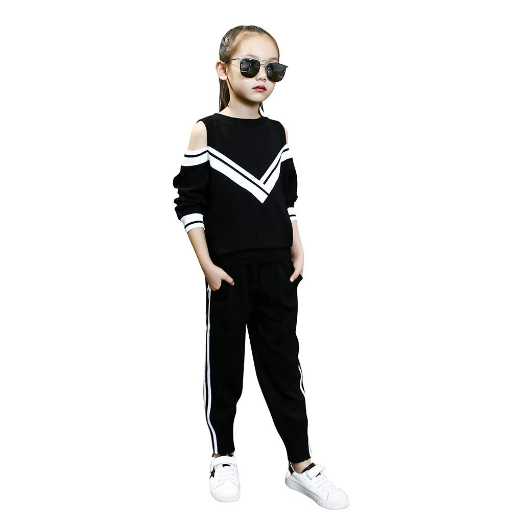 Fineser Fashion Big Girls Sports Suits Off Shoulder Clothing Set for Teenage Autumn Tracksuit Kids Plus Size Sportswear (Black, 13-15 Years(170)) by Fineser Baby Clothes