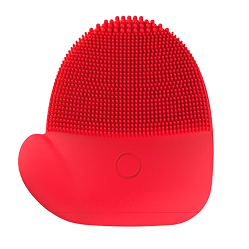 HAOMEI Facial Cleansing Brush Facial Cleaner, Electric Cleansing Brush, Electric Pore Cleaner, Waterproof Sonic Cleansing Brush, Deep Cleansing Skin Exfoliating Cleaning System (Color : Red)