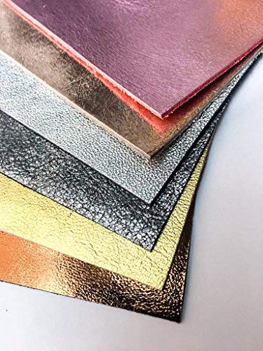 Leather Scraps Metallic Scrap Leather: Pre-Cut Genuine Leather Sheets for Crafts 10x10In/ 25x25cm