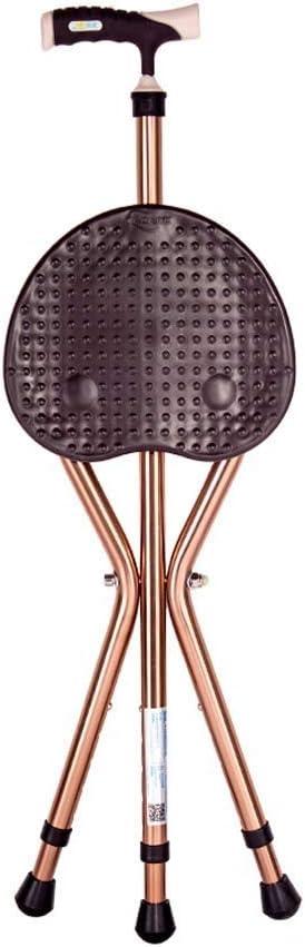 三脚杖椅子トレーニングウォーカー、老人の杖滑り止め椅子スツール多機能軽量伸縮杖スツール、調節可能な高さ、送信シートカバーとフットパッド (色 : Brown)