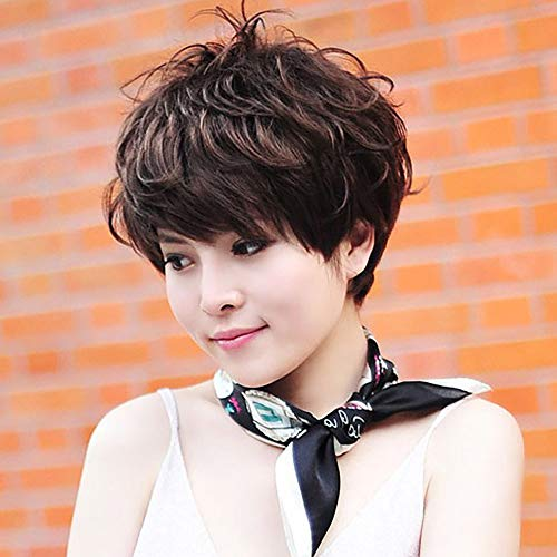 Curly Human Hair Wigs,Natural Party Wig Women Girl Short Curly Synthetic Brown Wavy Sexy Full Wigs Best Gifts ()
